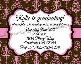 Pink and Brown Graduation / Baby Shower / Bridal Shower / Birthday Invitation Print Your Own 4x6 or 5x7