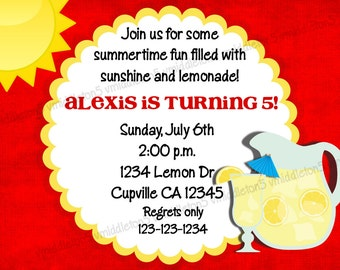 Lemonade Party Invitation / Birthday / Bridal Shower / Baby Shower Print Your Own 5x7 or 4x6