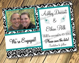 Peacock Feather Wedding Engagement Save The Date Announcement Card Print Your Own 5x7 or 4x6