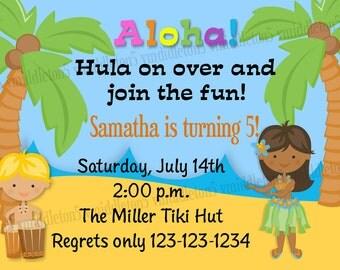 Hula Luau Beach Party / Birthday Invitation Print Your Own 5x7 or 4x6