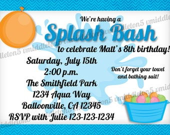 Splash Bash Water Birthday / Party Invitation Girl and Boy Options Print Your Own 5x7 or 4x6