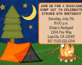 Back Yard Camp Out Birthday Invitation Print Your Own 5x7 or 4x6