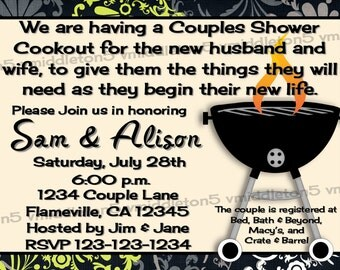 Couples / Coed Wedding Shower Invitation BBQ / Cookout Color Options Print Your Own 5x7 or 4x6