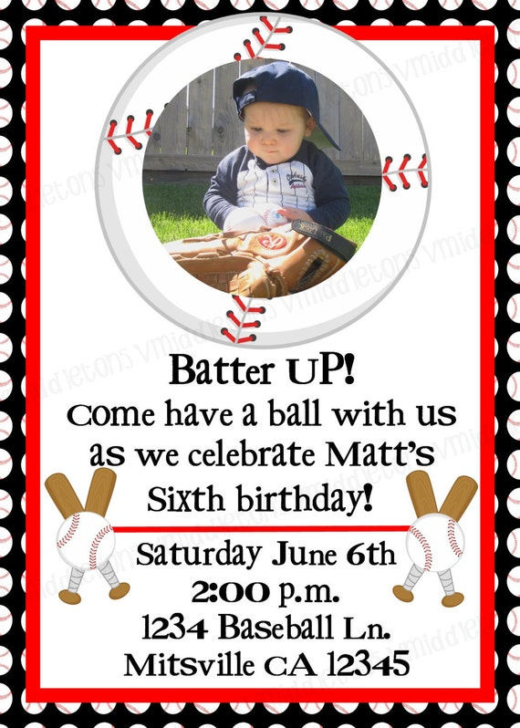 Baseball Photo Birthday Invitation Print Your Own 5x7 or 4x6