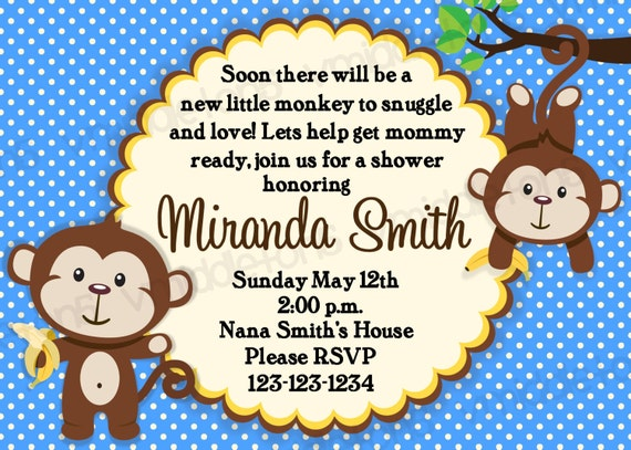 monkey baby shower invitation boy and girl options print your own 4x6