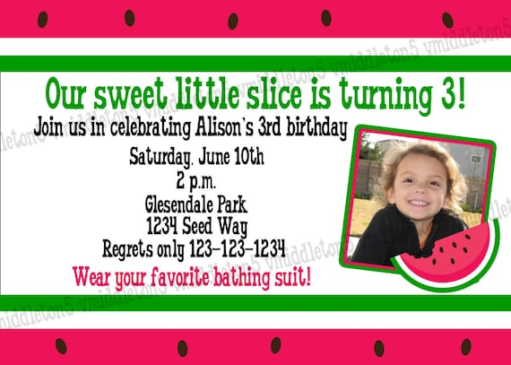 Watermelon Birthday Party Invitation With Photo Option Print Your Own 5x7 or 4x6