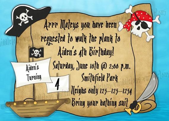 Piraten Geburtstag Einladung Drucken Sie Ihre Eigenen 5 X 7