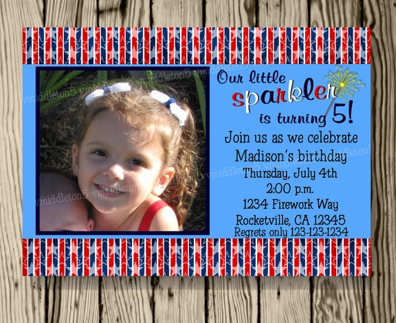 Sparkler Patriotic 4th of July Birthday Invitation with Photo Option Print Your Own 5x7 or 4x6