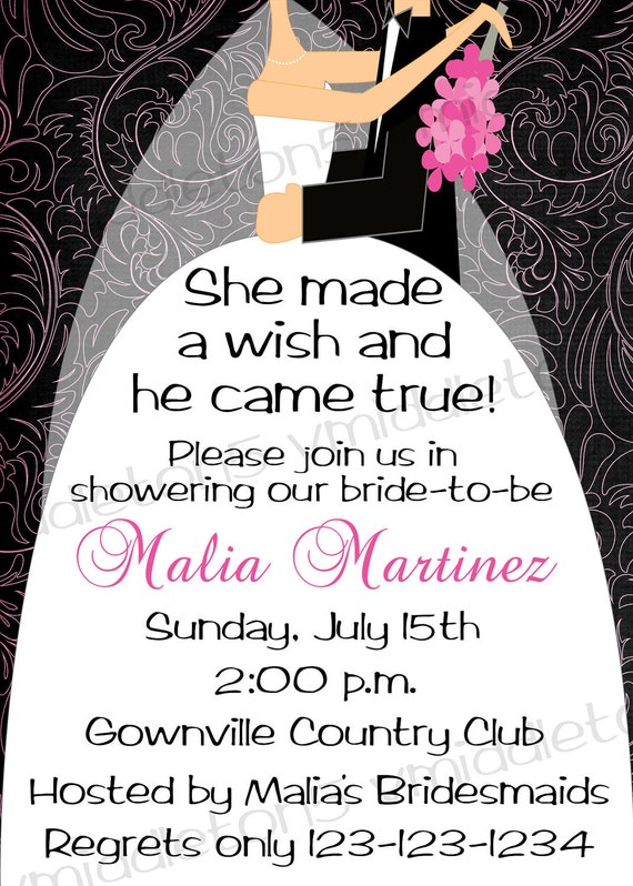 Bridal Shower Wedding Dress Invitation With Pattern Options Print Your ...