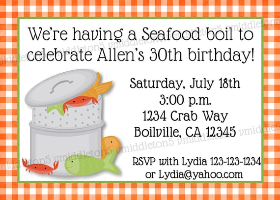 Seafood / Crab / Lobster Boil Invitation Shower / Birthday Print Your Own 5x7 or 4x6