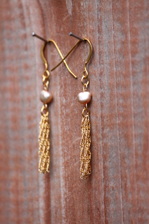 """Small Iridescent Fresh Water Pearl and 1"""" Tassel Earrings"""