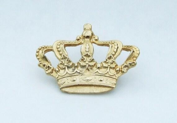 Gilt Crown Brooch, vintage estate, Heavy gold plating. Regal Jewel Jubilee