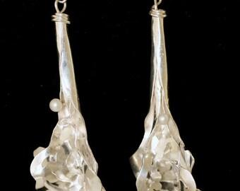 Sterling Silver Earrings One of a Kind Pierced Pearl