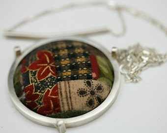 Quilt Pendant Domed Sterling Silver