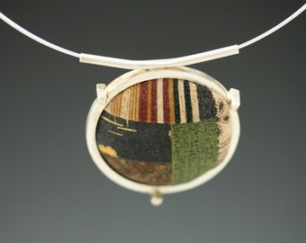 Quilt Sterling Silver Pendant Sterling Silver Neck Ring