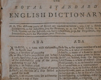 The Royal Standard English Dictionary  Antique Book