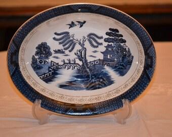Vintage Nikko Double Phoenix Blue Willow Flow Blue Open Vegetable Bowl