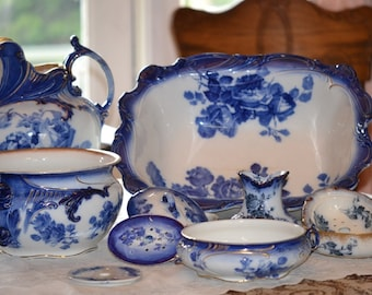 Antique Gloire De Dijon Royal Doulton Flow Blue Chamber or Wash Set