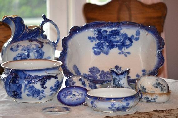 Antique Gloire De Dijon Royal Doulton Flow Blue Chamber or Wash Set