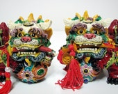 Vintage pair of hand painted  guardian lions