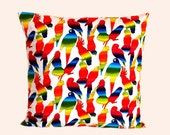 "Decorative pillow case, Multicolored cotton Throw pillow case with Parrot motif, fits 18""x18"" insert, Toss pillow case, Cushion case"