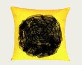 "Linen Cotton Spiral Black and Yellow Throw pillow case, fits 18""x18"" insert, Toss pillow case, Cushion case."