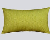 "Decorative Pillow case, Textured Green-Yellow color Decorative fabric Lumbar pillow case, fits 12"" x 20"" insert, Home Decor"