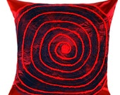 """Decorative Pillow case, Decorative Burgundy-blue throw pillow cover, Red Spiral accent, fits18""""x18"""" insert, Toss pillow cover, Cushion cover"""