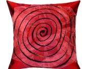 """Burgundy and pink Throw pillow case with Spiral accent, fits 18""""x18"""" insert, Toss pillow cover, Cushion cover."""