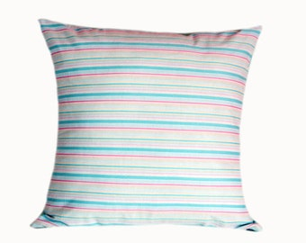 """Cotton Turquoise Pink White colors striped  Throw pillow case, fits 18""""x18"""" insert, Toss pillow case, Cushion case."""