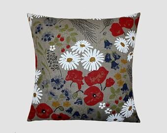 """Decorative Pillow case, Grey Flowered Linen Designer fabric, Throw pillow case, fits18""""x18"""" insert, Toss pillow case, Cushion case."""