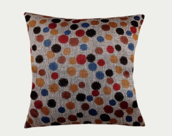 """Decorative Pillow Case, Silver linen from Europe Designer fabric with multicolor Polkadots pillow case, fits 18""""x18"""" insert, Toss case"""