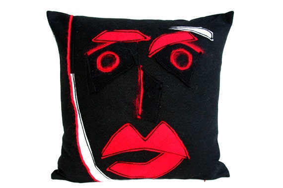 Decorative Pillow case Red-black Mask on the throw pillow