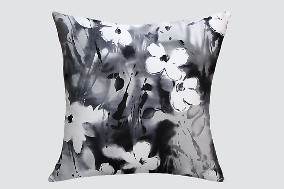 "Decorative Pillow case, Cotton fabric Throw pillow cover, black, grey & white with leaf and flower patterns, fits 18"" x 18"" insert."