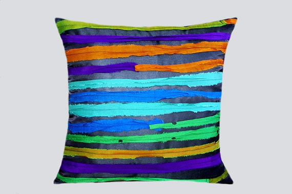 """Decorative Throw pillow case with Multicolored horizontal silk stripes, fits 18""""x18"""" insert, Toss pillow case, Cushion case"""