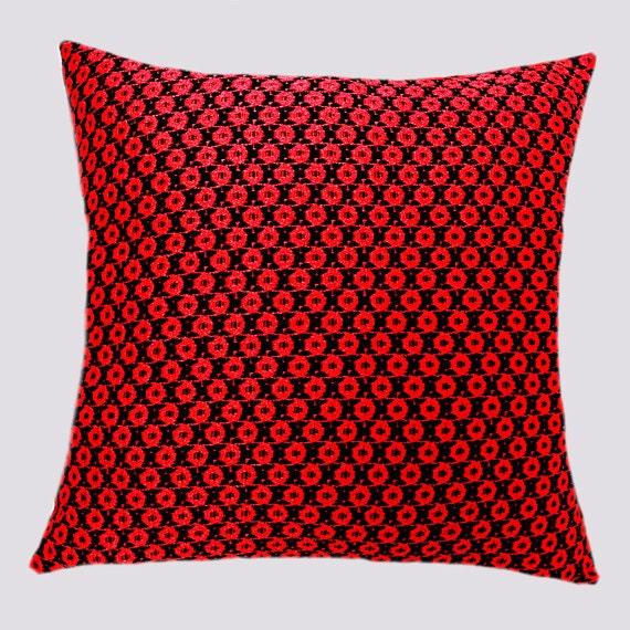 Decorative Pillow Case Red Lace Decorative Throw pillow case