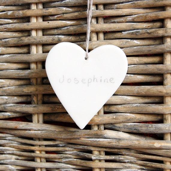White Ceramic Heart Shape Personalised Christening Present