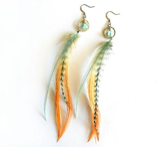 "Feather Hoop Earrings ""Maui Dreams"" Turquoise, Aqua, Orange, Peach, Perfect for Spring Summer Trend, Boho Elegance, Ready to Ship"