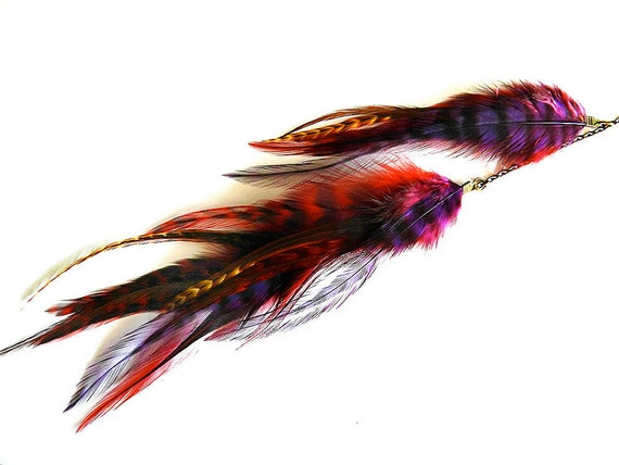 "Long Single Feather Chain Earring ""Royal Vixen"" Red, Purple Grizzly, Magenta, Brown, Brass Spike Charm Accent, Ready to Ship"
