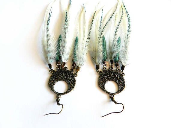 """Long Feather Earrings """"Search of Sunrise"""" Turquoise & White Dream Catcher Earrings, Howlite Spike Stone Accents, Ready to Ship"""