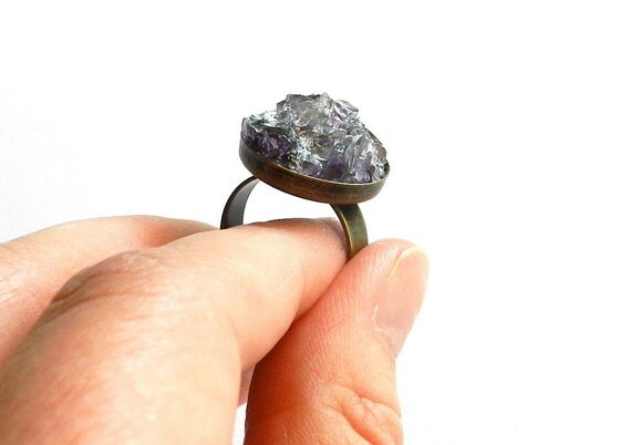 Purple Amethyst Ring - Raw, Rough, Natural, Chunk, Cluster, Gemstone, Adjustable Bronze Band, Ready to Ship
