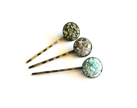 Gemstone Bobby Pins - Pyrite, Botswana Agate, Aqua Larimar - Raw, Rough, Natural, Boho Tribal Spring Fashion Trend, Ready to Ship