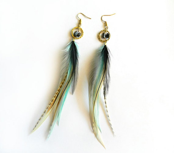 """Feather Hoop Earrings """"Aztec Wonder"""" Turquoise Aqua, Black, Brown, White, Striped, Natural, Gold, Tribal Summer Fashion"""