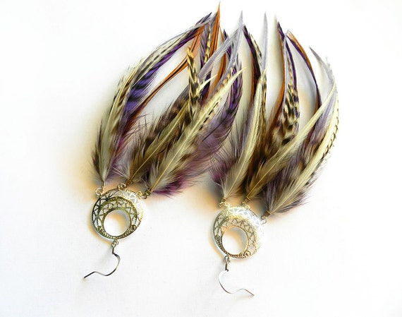 """Feather Earrings """"Mi Amore"""" Purple, Black, Brown, White, Cream, Striped Grizzly, Dream Catcher, Gypsy Tribal Summer Fashion Trend"""