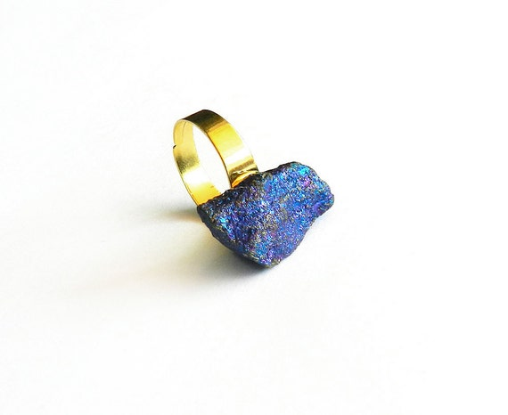 "Raw Crystal Ring - Chalcopyrite ""Peacock Ore"" Bornite - Sparkly, Metallic Mineral Rock, Blue Purple Gemstone, Adjustable, Gold, Fall Fashion"