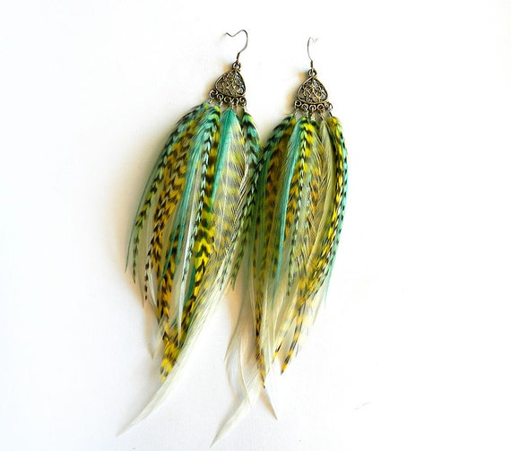 "Long Feather Earrings ""Garden Fairies"" Turquoise, Aqua Green, Yellow, White, Pastel, Grizzly, Tribal Gypsy Fall Fashion"