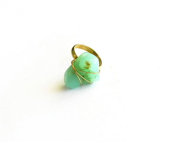 Chrysocolla Gemstone Ring - Turquoise Aqua Green, Wire Wrapped, Raw, Natural Crystal Mineral Rock, Gold, Tribal Summer Fashion