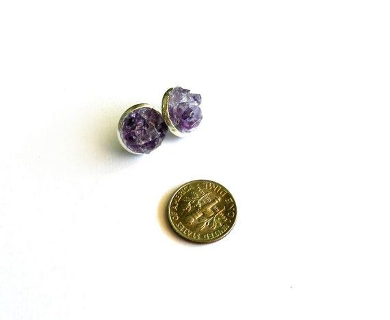 Purple Amethyst Cluster Earrings, Raw, Rough, Natural, Gemstone Chunk, February Birthstone, Modern, Summer Fashion Trend