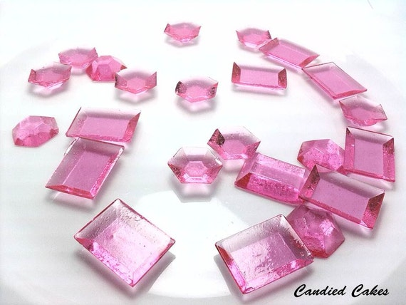 Buy 50 Get 50 Free - PINK EDIBLE Sugar Jewels - Any Color