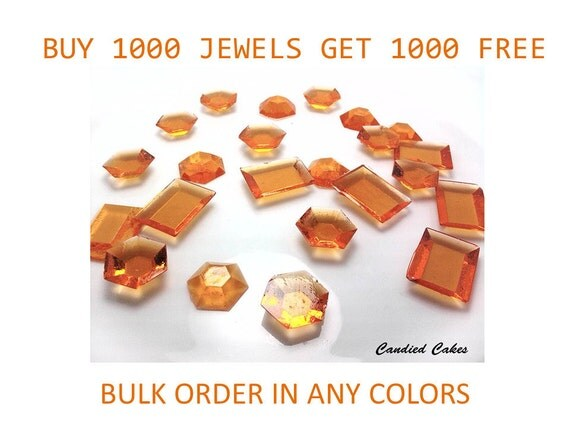 Buy 1000 Get 1000 Free - 2000 EDIBLE SUGAR JEWELS - Any Color